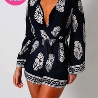Lois Navy Printed Playsuit