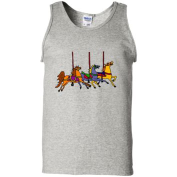 Smiletodaytees Fun Carousel Horses Art T-shirt 100% Cotton Tank Top