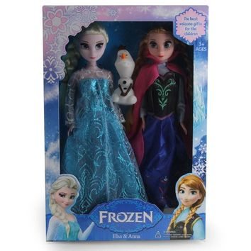 Disney Toys For Kids Child Frozen Dolls Princess Anna And Elsa And Olaf Dolls Christmas Gifts Juguetes Tq0111