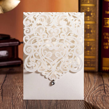 Laser Cut Wedding Invitations Kits with Rhinestone 100/pieces