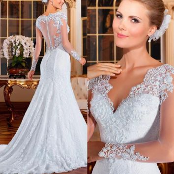 Illusion Back Pearls Beads Mermaid Wedding Dress Lace Embroidery Vintage wedding-dress