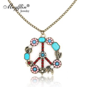 Collares 2017 Fashion Long Chain Necklaces & Pendants for Women Men Jewelry Vintage Peace Symbol Necklace Collier Joyeria