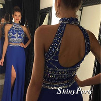 Custom Made Two Pieces High Neck Prom Dress 2016 Long Chiffon With Beadings