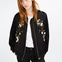 FLORAL EMBROIDERED BOMBER JACKETDETAILS