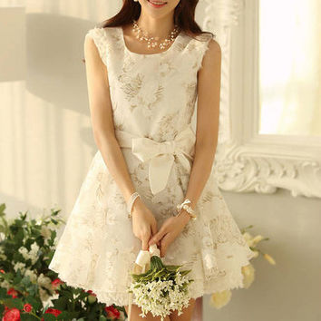 White Floral Sleeveless Lace Bow Belted Princess Mini Dress