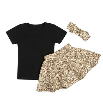 Leopard Skirt Outfit Set with Black Tee and Matching Headband