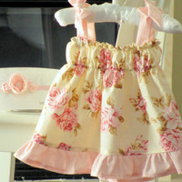 SHABBY CHIC baby girls dress  Pink and cream floral by bebeculture