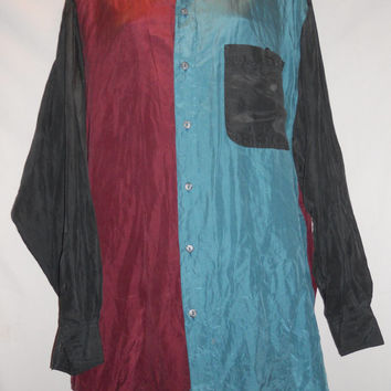 Vintage 80 100 Percent Silk Long Sleeve Button Up Collared Shirt Colorblock Maroon Blue Black On the Brink Size XL Hip Hop