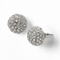 Simply Vera Vera Wang Silver Tone Simulated Crystal Dome Button Stud Earrings (White)