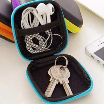 Mini Square Digital Accessories Travel Storage Bag for Earphone U Disk USB Data Cable Charger Portable Electronic Gadget Pouch