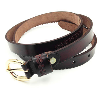 lupin gold buckle engraving leather belts