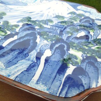 Flow blue cobalt blue serving platter snow-capped mountain Japanese country scene by Sun Ceramics