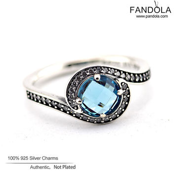 Radiant Embellishment Silver Ring with Sky Blue Crystal & Clear CZ 100% 925 Sterling Silver Jewelry Rings for Women