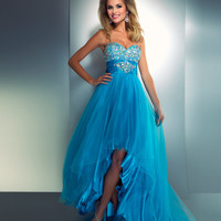 Mac Duggal Prom 2013 - Strapless Bright Turquoise Gown - Unique Vintage - Cocktail, Pinup, Holiday & Prom Dresses.