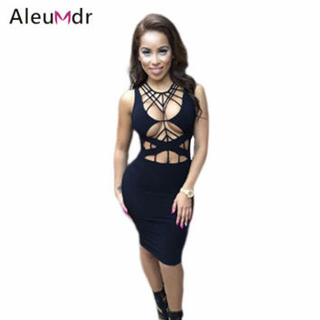 Aleumdr Hot Sale Sexy Club Dresses 2016 White/Black Daring Strappy Cutout Body-conscious Bodycon Dress Vestido De Renda