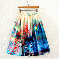 Vintage Tree & House Print Pleated Midi Skirt