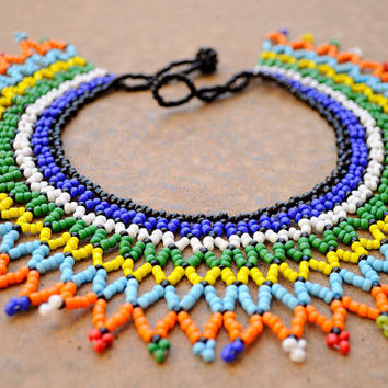 African Collar Necklace,Beaded African statement necklace,Traditional Zulu Fashion,Ethnic Tribal Statement Necklace,South African beadwork