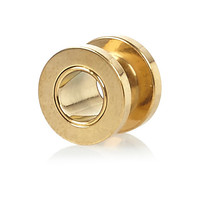 River Island MensGold tone tunnel earring