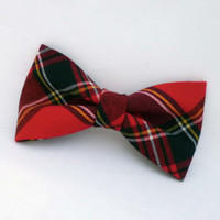 Mens bow tie red and black plaid pre tied adjustable or clip on bow tie fall fashion plaid bow tie