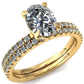Alessandra Oval Moissanite 4 Claw Prong Diamond Accent Engagement Ring
