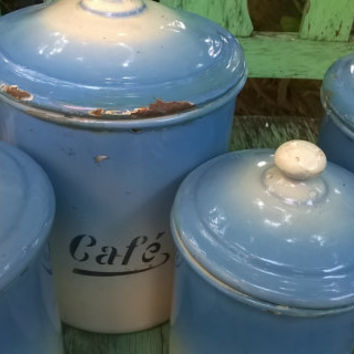 Antique French Blue Enamelware Spice Pots, Set of 5
