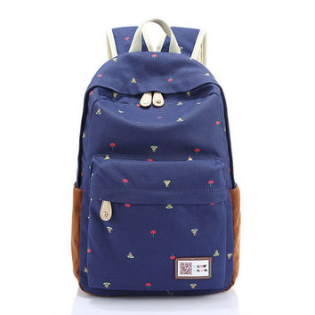 Stylish Backpack Korean Floral Travel Bags [6304974916]