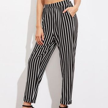 High Waist Pinstripe Peg Trousers