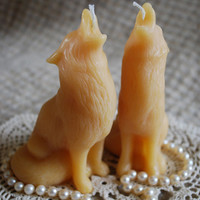 Beeswax Candle Shaped Howling Wolf Totem Candle