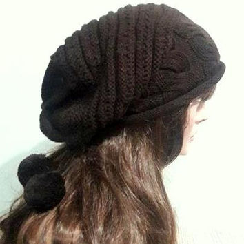 Super Slouchy Knit Beanie Baggy Hat Brown Celebrity Hat Unisex Dreadlock Hat Oversized Hat with Pom Pom Fashion Accessories Gift Ideas
