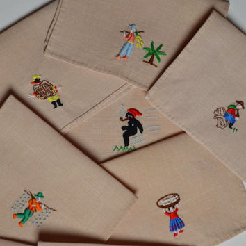 Vintage  Napkins, Cocktail Napkins, Cloth Cocktail Napkins, Embroidered Napkins, Bridge Napkins, Shabby Chic, Cottage Chic,