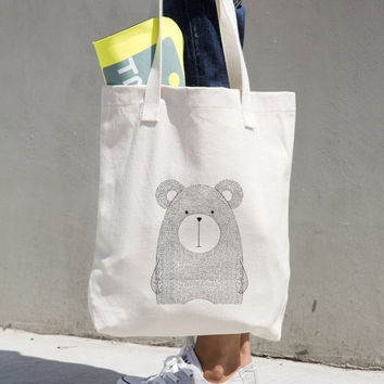 Canvas Tote Bag Bear - Printed Tote Bag - Market Bag - Cotton Tote Bag - Large Canvas Tote - Bear Bag - Bear Tote Bag