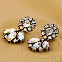 Fashion Jewelry Bohemian Resin Crystal Flower Studs Earrings For Women 1MKQ