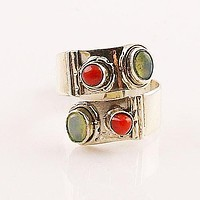 Ethiopian Opal & Coral Adjustable Sterling Silver Ring