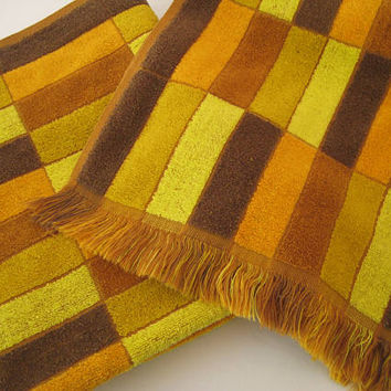 MOD Bath Towels 1970's Geometric Brown Gold Yellow Orange Fringed Pure Cotton Clean Home Bathroom Decor Used Set Simpsons Sears USA Made