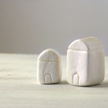Miniature clay houses, little white houses, natural minimal home decor - set no1