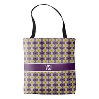 Customizable Purple and Yellow Monogram Tote Bag