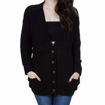 V-neck Single Breasted Sweater Cardigan Women Casual Loose Black Gray