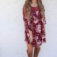 Quiet Sunset Burgundy Floral Print Dress
