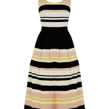 SAFFRON STRIPE MIDI DRESS