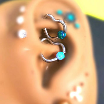 Captive Dark Green Opal Heart Cartilage Tragus Anti-Tragus Snug Helix Daith Rook 8mm 10mm 16g Earring Piercing Jewelry Surgical Steel