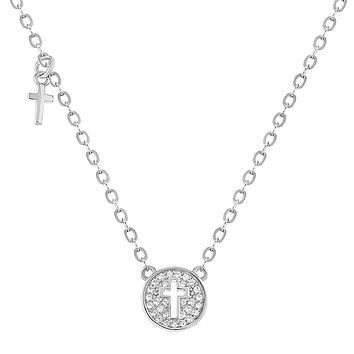In Season Jewelry 925 Sterling Silver Small Cross Medal Necklace for Babies and Kids Clear CZ 16""