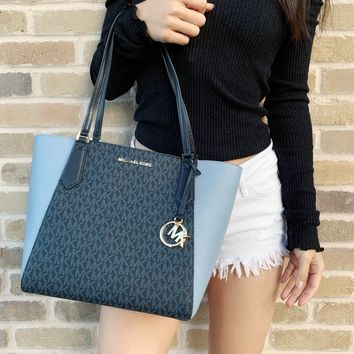 Michael Kors Kimberly Small Bonded Top Zip Tote Admiral MK Pale Blue