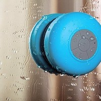 Mfine New Round Waterproof Wireless Bluetooth Shower Speaker Handsfree Speakerphone Compatible with All Bluetooth Devices Iphone 5s and All Android Devices, Great Fun for your Shower and outdoor trip. (Blue)