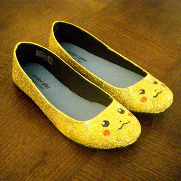 Pikachu Pokemon Glitter Flats Shoes by aishavoya