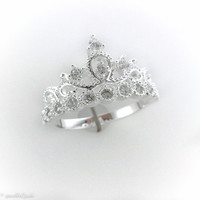 Sterling Silver Plated Princess Crown CZ Ring