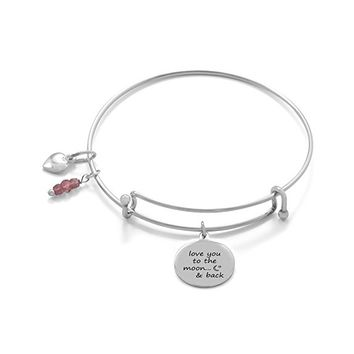 "Expandable Sterling Silver ""love you to the moon... & back"" Bracelet"