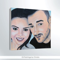 CUSTOM portrait, couple painting, oil Painting, wedding gift, face portrait, 2 faces, gift for her,gift for him,wall decor, home decor, art