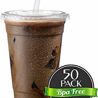 Cold Smoothie Go Cups and Lids | Iced Coffee Cups | Plastic Cups with Lids | 20 oz Cups, 50 Pack | Clear Disposable Pet Cups | Ideal for Parfait Juice Soda Cocktail Party Cups [Drinket Collection]