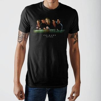 Friends Over The Balcony Black T-Shirt