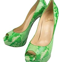 Christian Louboutin Lady Peep Green Python Heels Shoes Size 7.5/37.5